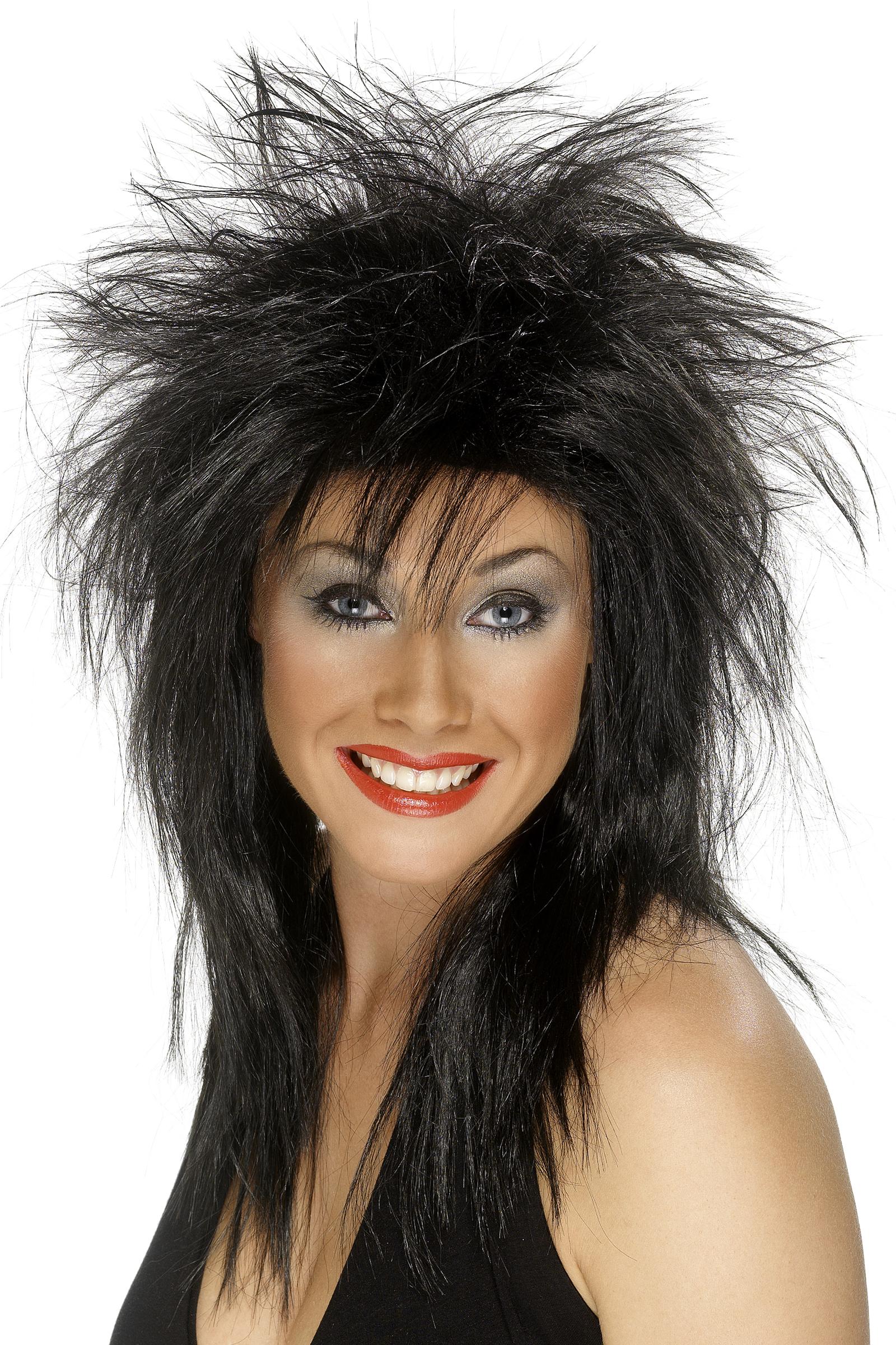 Perruque rock noire femme -